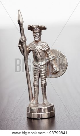 Silver figure of literary character Don Quixote