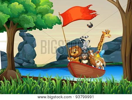 Animals in boat floating on the river
