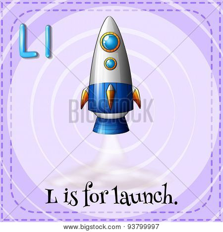 Falshcard letter L is for launch