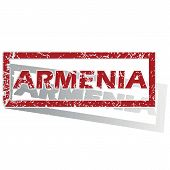 stock photo of armenia  - Outlined red stamp with country name Armenia - JPG