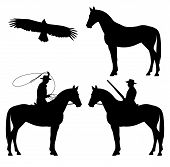 foto of wrangler  - wild west theme black and white vector silhouette set  - JPG
