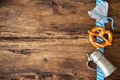 stock photo of pretzels  - Oktoberfest festival background with beer mug - JPG