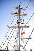 pic of mast  - Mast of a sailing ship moored in Szczecin at sunset Poland - JPG