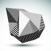 stock photo of asymmetric  - Decorative distorted eps8 element with parallel black lines - JPG