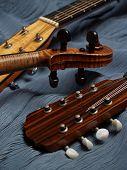 pic of musical instrument string  - mandolin violin and guitar head - JPG