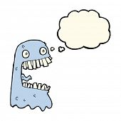 picture of grossed out  - cartoon gross ghost with thought bubble - JPG