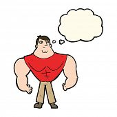 image of muscle builder  - cartoon body builder with thought bubble - JPG