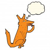 image of licking  - cartoon fox licking paw with thought bubble - JPG