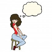 pic of striking  - cartoon woman striking pose with thought bubble - JPG
