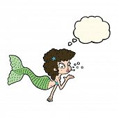 pic of mermaid  - cartoon mermaid blowing kiss with thought bubble - JPG