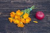 pic of marigold  - medical calendula marigold flower bunch and red apple on old wooden plank - JPG