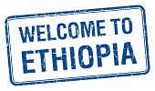picture of ethiopia  - welcome to Ethiopia blue grunge square stamp - JPG