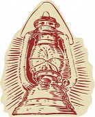 pic of kerosene lamp  - Etching engraving handmade style illustration of a kerosene lamp viewed from front set on isolated white background - JPG