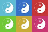 stock photo of ying yang  - ying yang flat design modern vector icons set for web and mobile app - JPG