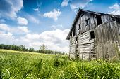 foto of abandoned house  - Abandoned wooden house surrounded by romantic nature - JPG