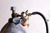 picture of air pressure gauge  - Welding gas cylinder pressure gauge close up - JPG