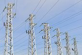 pic of power transmission lines  - Six steel high - JPG