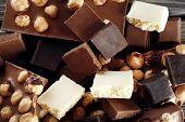 foto of hazelnut  - Set of chocolate with hazelnut - JPG
