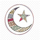 stock photo of crescent  - Stylish decorative crescent moon with star in rounded frame for Muslim community festival - JPG