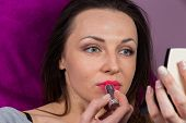 pic of makeover  - Beautiful brunette in red lipstick - JPG