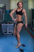 pic of breast-pump  - Girl pumps the major muscle groups in the gym - JPG