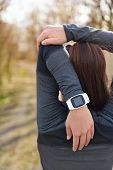 pic of workout-girl  - Smartwatch woman running with heart rate monitor - JPG