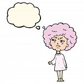 stock photo of old lady  - cartoon old lady with thought bubble - JPG