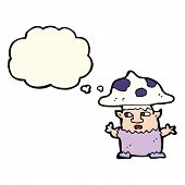 stock photo of fairy-mushroom  - cartoon little mushroom man with thought bubble - JPG
