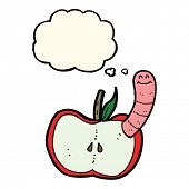 picture of worm  - cartoon apple with worm with thought bubble - JPG