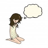 picture of nightie  - cartoon pretty girl with thought bubble - JPG