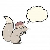 pic of crazy hat  - cartoon squirrel wearing hat with thought bubble - JPG