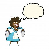 picture of milkmaid  - cartoon milkmaid carrying buckets with thought bubble - JPG