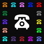 pic of rotary dial telephone  - retro telephone handset icon sign - JPG
