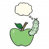 stock photo of caterpillar cartoon  - cartoon apple with bug with thought bubble - JPG