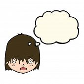 image of stare  - cartoon staring woman with thought bubble - JPG