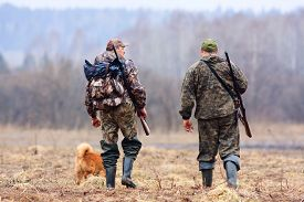 stock photo of hunter  - two hunters and dog on the field - JPG