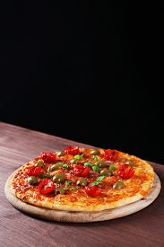 picture of black-cherry  - Tasty pizza with cherry tomatoes - JPG