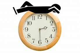 foto of pass-time  - Cartoon man silhouette sleeping on top of a wooden wall clock - JPG