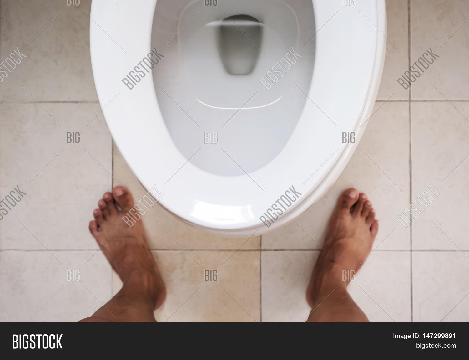 Top View Toilet Lavatory Bare Feet Image Photo Bigstock