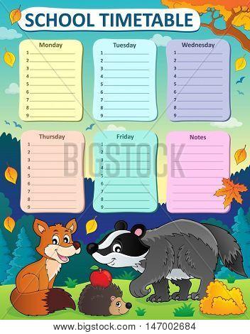 Weekly school timetable subject 1 - eps10 vector illustration.