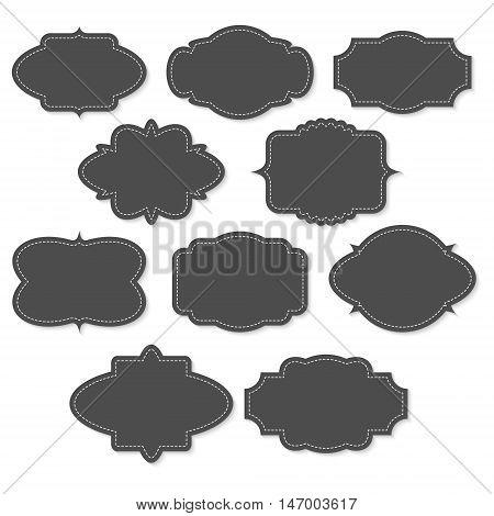 Set of chalkboard vintage labels and frames on white background
