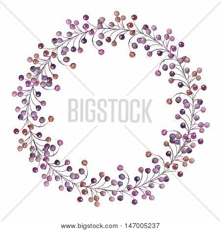 A frame, wreath, frame border for a text with the watercolor purple and violet berries on the  branches, hand-drawn on a white background, a greeting card, a decoration postcard, wedding invitation