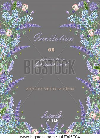 Card template with the floral design; elements of the lavender, cornflower, forget-me-not and eustoma flowers, hand-drawn in a watercolor;  decoration for a wedding, greeting card on a grey background
