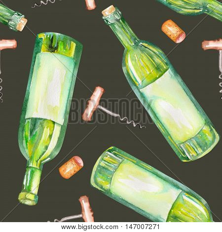 A seamless pattern with the wine watercolor hand-drawn elements: wine bottles, wine corks and a corkscrew. Painted on a dark (black) background.