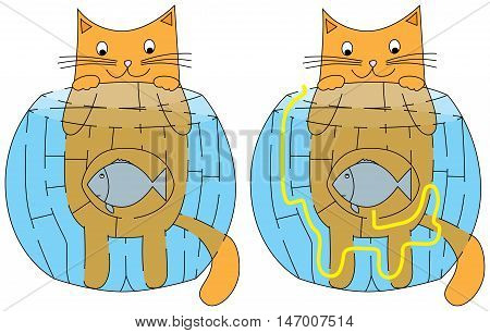 Easy hungry cat maze for younger kids with a solution, vector