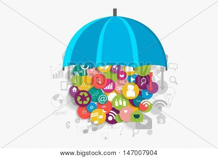 Business concept with cloud of application. Vector illustration.