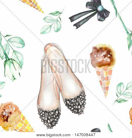 A seamless pattern with the women's romantic watercolor hand-drawn elements: ice cream, rose flower, bow and woman ballet shoes. Painted on a white background.