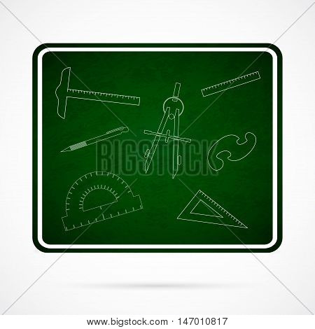 Vector School Elements on Green Chalkboard. Back to School background with protractor, compass, triangle and other school items.
