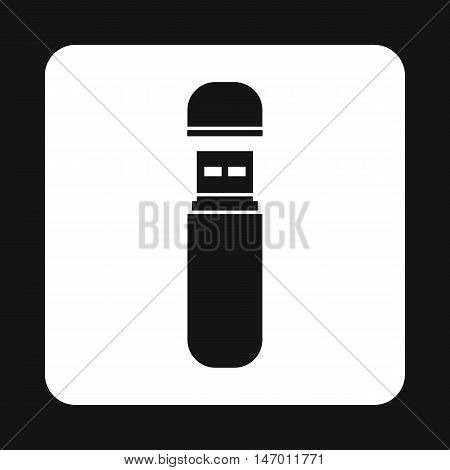 USB flash drive icon in simple style isolated on white background. Device symbol vector illustration