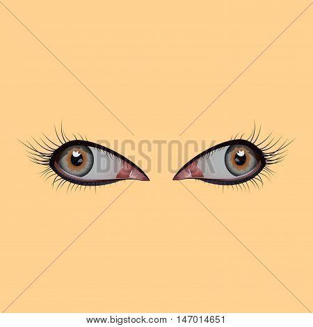 Beautiful female eye. The eyelids, pupil, eyelashes reflections vector illustration